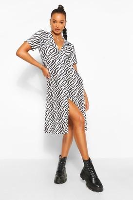 boohoo Zebra Print Shirt Style Midi Dress