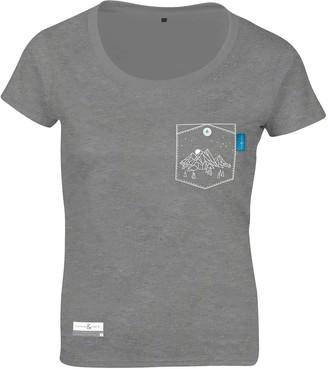 Athletic Grey Horizon Print Organic Cotton T-Shirt (Womens)