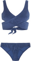 Lisa Marie Fernandez Marie-louise Cotton-blend Terry Wrap Bikini - Navy