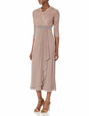 Cachet Women's Lace & Chiffon 3/4 Sleeve Gown