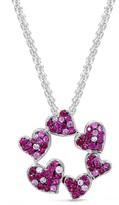 Effy Jewelry Effy 925 Sterling Silver Ruby Hearts Pendant, 2.18 TCW