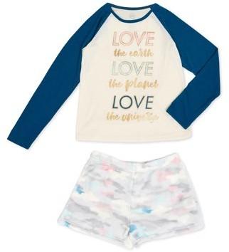 Wonder Nation Girls Exclusive Lightweight Crewneck & Shorts Pajama Set Sizes 4-18 & Plus