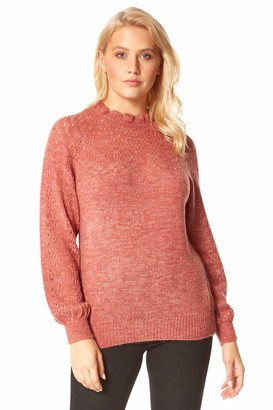 Roman Originals Women Frill Neck Pointelle Knitted Jumper - Ladies Long Sleeve Roll Neck Frill Ruffle Detail Pointelle Crochet Knitted Cosy Warm Smart Sweater - Biscuit - Size 12
