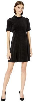 BCBGeneration Mock Neck Short Sleeve Dress TOI6254977 (Black) Women's Clothing