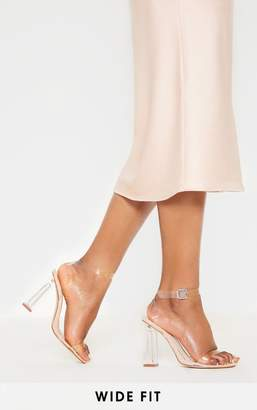 PrettyLittleThing Black Wide Fit Clear Block Heel Sandal