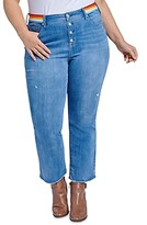Thumbnail for your product : Seven7 Lover Striped-Waist Boot Crop Jeans in Prophecy