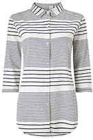 Phase Eight Montana Stripe Shirt, Chambray/Ivory