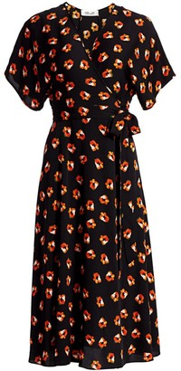 Diane von Furstenberg Kelsey Floral Stretch Silk Wrap Dress