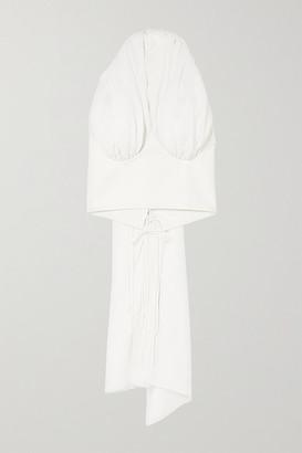 ALEKSANDRE AKHALKATSISHVILI Crepe And Cotton Halterneck Top - White
