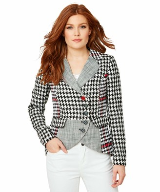 Joe Browns Womens Vintage Houndstooth Check Blazer Jacket Black 18