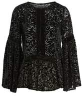 Kas Women's Velvet Burnout Bell Sleeve Peasant Top