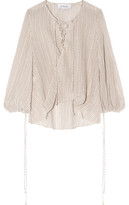 Derek Lam 10 Crosby Lace-Up Draped Striped Cotton-Gauze Top