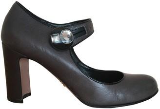 Prada Mary Jane Grey Leather Heels