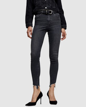 Topshop Jagged Hem Jamie Skinny Jeans