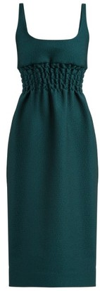 Emilia Wickstead Giovanna Ruched-waist Double-cloque Dress - Womens - Dark Green