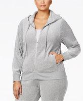 Calvin Klein Plus Size Zip-Front Velour Hooded Jacket
