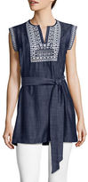 Ivanka Trump Embroidered Denim Tunic