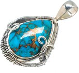 """Ana Silver Co. Ana Silver Co Copper Composite Turquoise 925 Sterling Silver Pendant 1 3/4"""" PD598710"""