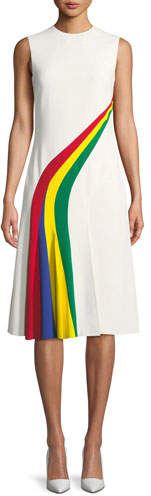 Ralph Lauren Celesse Sleeveless Rainbow Stripe Fit-and-Flare Dress