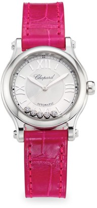 Chopard Happy Sport Stainless Steel, Diamond & Leather-Strap Watch