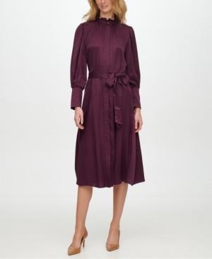 Calvin Klein Button-Front Jacquard Shirtdress