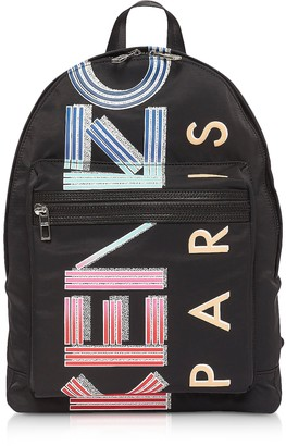 Kenzo Black Nylon Sport Logo Animation Backpack
