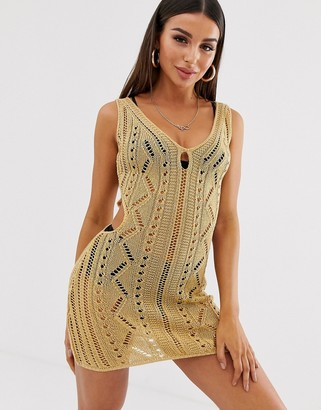 Asos Design DESIGN crochet cut out mini bodycon dress-Gold