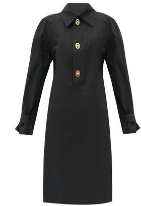 Bottega Veneta Half-placket Coated-canvas Midi Dress - Black