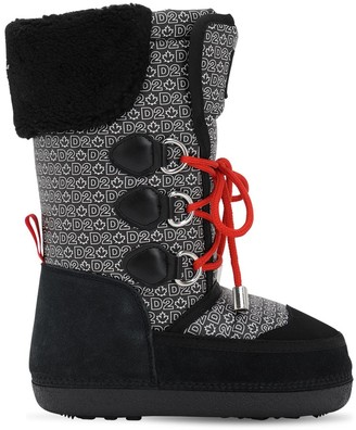 DSQUARED2 All Over Print Nylon & Suede Boots