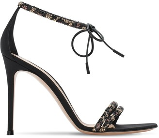 Gianvito Rossi 105mm Suede & Crepe De Chine Sandals