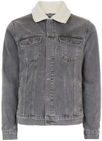 Topman Washed Black Faux Shearling Collar Denim Jacket