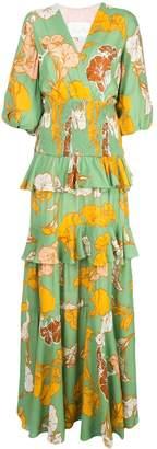 Johanna Ortiz tiered V-neck floral print dress