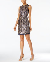 Vince Camuto Sequined Feather Sheath Dress