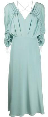Victoria Beckham Draped-Sleeve Drawstring Midi Dress