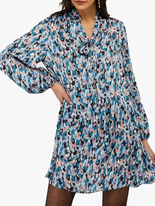 Monsoon Susie Dot Print Tie Neck Dress, Blue