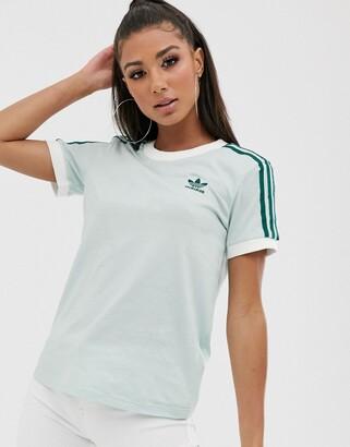 adidas adicolor three stripe t-shirt in mint green