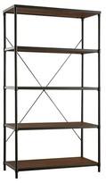 Homelegance Webster 4 Shelf Mixed Media Wide Bookcase Black