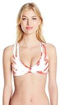 Lucky Brand Women's Fireworks Tie Dye Cross-Back Bikini Top with Removable Cups