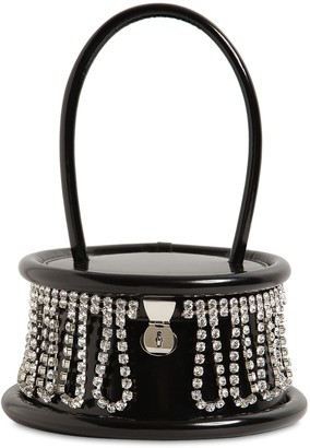 Area Top Handle Patent Leather Bag W/crystals