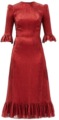 The Vampire's Wife The Falconetti Ruffled Metallic Silk-blend Dress - Red