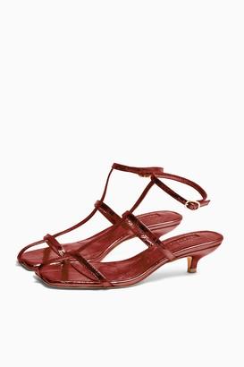 Topshop Womens Nika Rust Cage Mini Heels - Rust