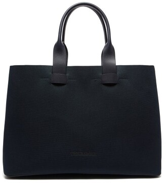 Troubadour Adventure Leather-trimmed Nylon Tote - Navy