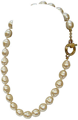 One Kings Lane Vintage Givenchy Baroque Glass Pearl Necklace - Wisteria Antiques Etc - pearl/gold