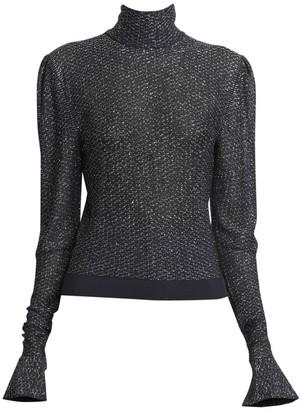 Chloé Metallic Lurex Knit Turtleneck Sweater