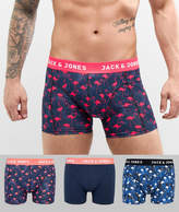 Jack and Jones 3 Pack Trunk With Flamingo Print