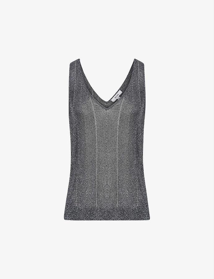 Reiss Alice metallic woven vest top