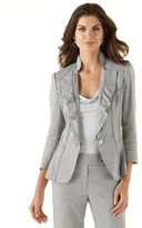 White House Black Market Ruffle-Lapel Gray Suit Jacket