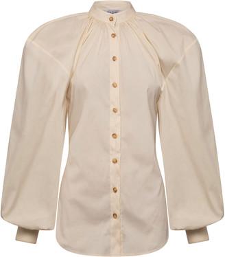 ANNA QUAN Amina Puff-Sleeve Cotton-Blend Poplin Top