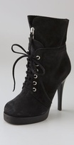 Shoes Lace Up Suede Booties on Platform