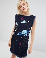 House of Holland x Lee Denim Shift Dress with Space Embroidery